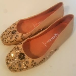 Jeffrey Campbell 8M Nude Leather Sequin Flat
